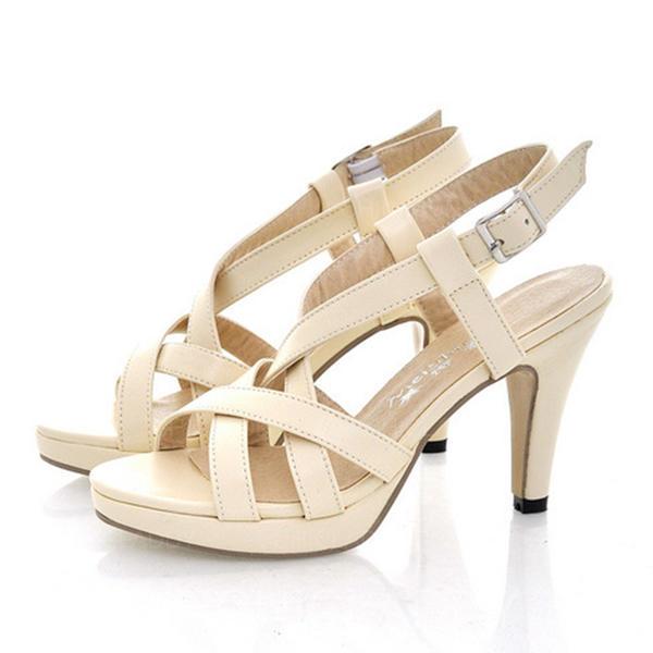 Donna Similpelle Tacco a spillo Sandalo Stiletto Punta aperta Con cinturino con Fibbia Cava-out scarpe