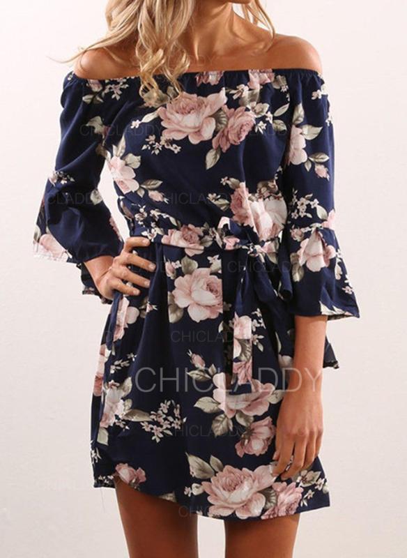 Impresión/Floral Mangas 3/4 Acampanado Sobre la Rodilla Casual Vestidos