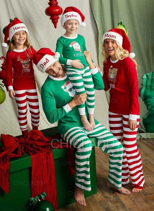 Santa claus Reno Color-Block Oso Raya Floral Navidad Familia a juego Pijamas De Navidad