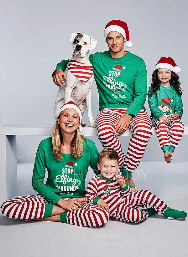 Matching Christmas Pajamas.Us 14 99 Striped Print Family Matching Christmas Pajamas Chicladdy