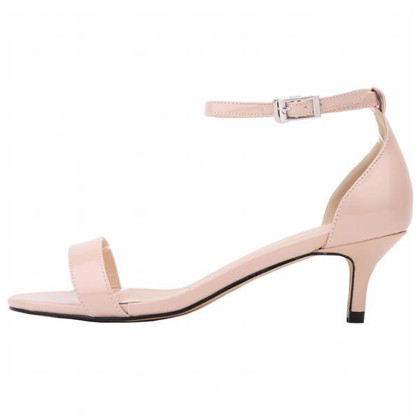 8ad71b95b288 Kvinner Patentert Lær Lav Hæl Sandaler Titte Tå sko (087091909 ...