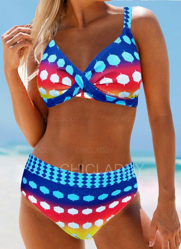 Punto Cintura Alta Correa Bohemio Atractivo Talla extra Bikinis Trajes de baño