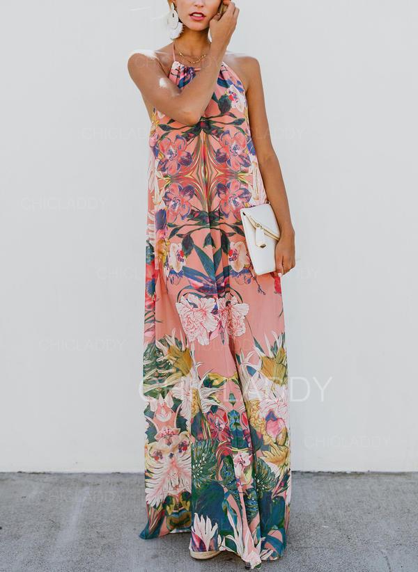 Impresión/Floral Sin mangas Tendencia Sexy/Casual/Bohemio/Vacaciones Maxi Vestidos