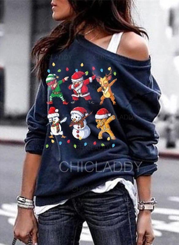 Bawełna Wydrukować Świąteczna bluza