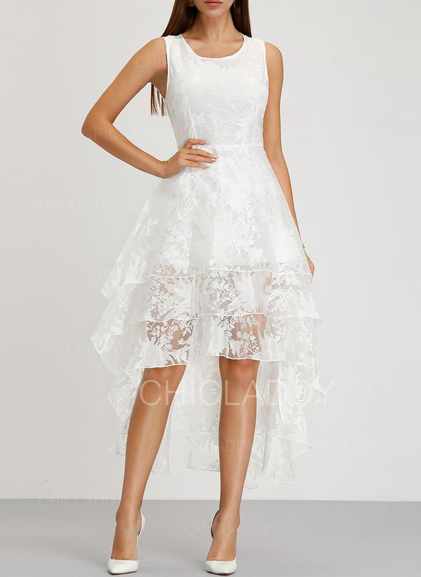 Koronka/Jednolita Bez rękawów W kształcie litery A Asymetryczna Wintage/Przyjęcie/Elegancki Sukienki