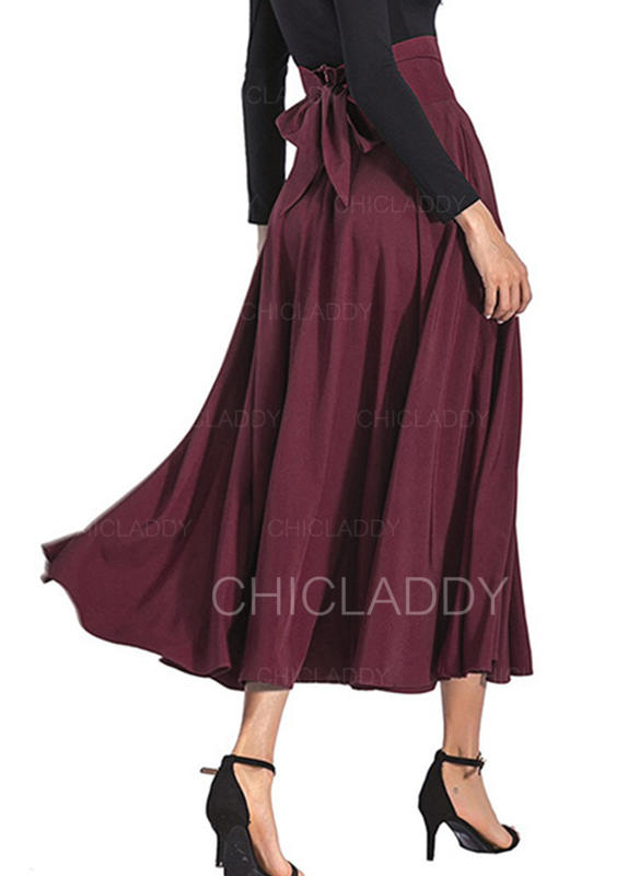 official supplier cheap for sale shopping [US$ 19.99] Polyester Plain Mid-Calf A-Line Skirts - Chicladdy