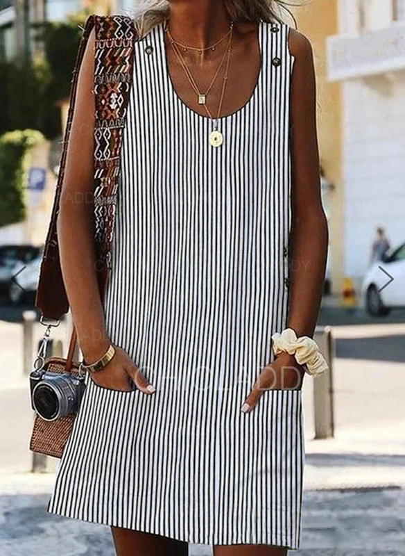 Striped Sleeveless Shift Above Knee Casual Dresses