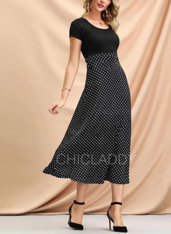 Groszki Krótkie rękawy W kształcie litery A Casual/Elegancki Midi Sukienki