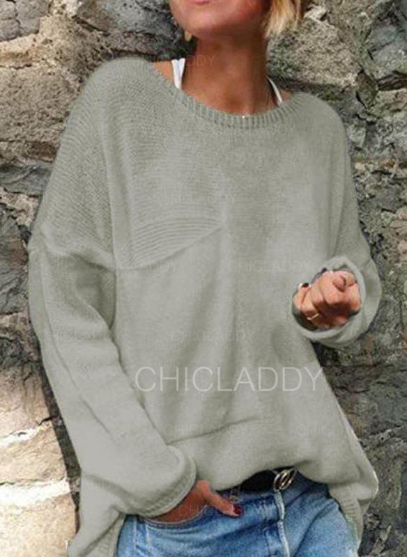 Jednolity Prążkowana dzianina Okrągły dekolt Swetry