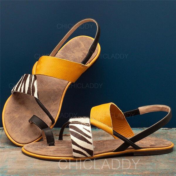 De mujer Cuero Tacón plano Sandalias Encaje con Material Block zapatos