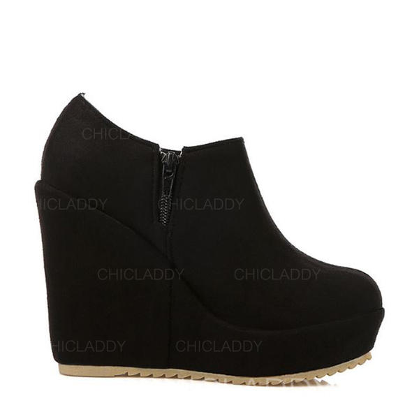 4f9243bc09c [US$ 25.99] Women's Suede Wedge Heel Pumps Platform Closed Toe Wedges Boots  Ankle Boots With Zipper shoes - Chicladdy