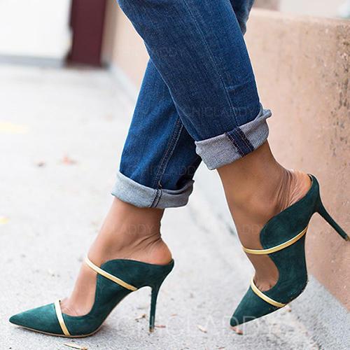 De mujer PU Tacón stilettos Salón Pantuflas con Hebilla zapatos