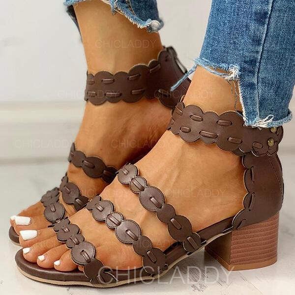 Bayanlar PU Tıknaz Topuk Sandalet Peep Toe Ile Fermuar ayakkabı