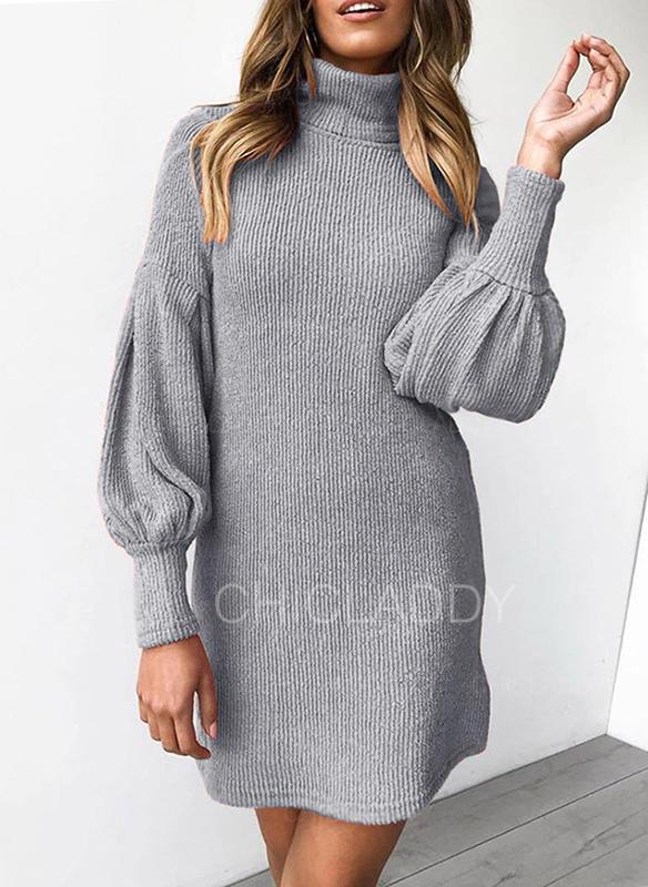 Jednolity Golf Sukienka sweterkowa