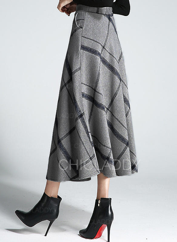 uk cheap sale good looking really cheap [US$ 34.99] Woollen Plaid Mid-Calf Flared Skirts A-Line Skirts - Chicladdy