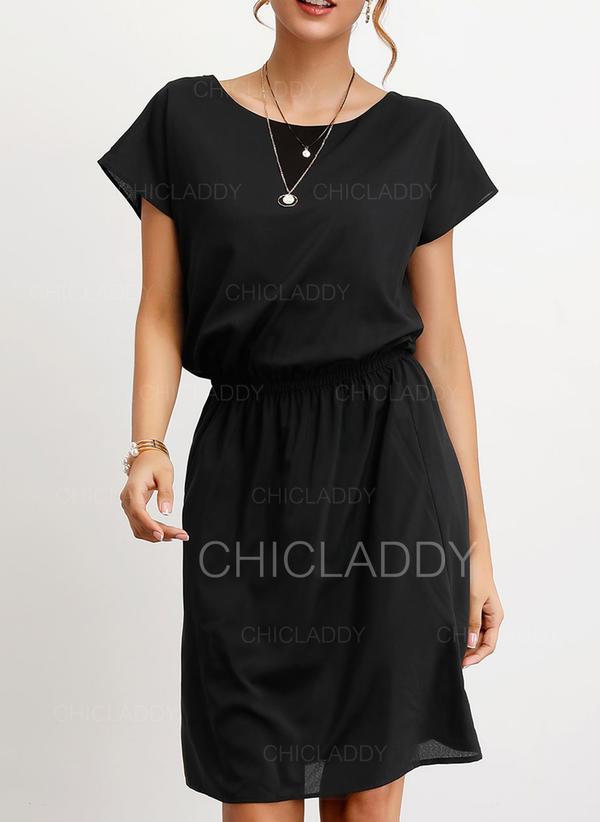 Jednolita Krótkie rękawy W kształcie litery A Długośc do kolan Mała czarna/Casual/Elegancki Sukienki