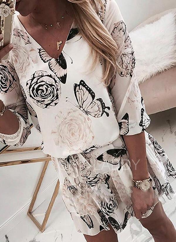 Impresión/Floral Mangas 3/4 Cubierta Sobre la Rodilla Casual/Elegante Vestidos