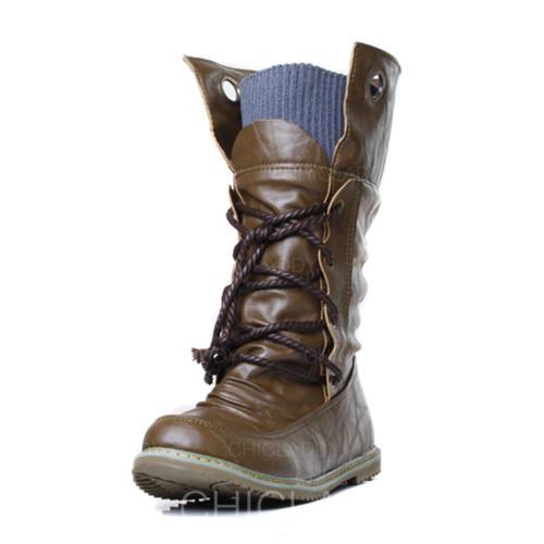 De mujer Cuero Tacón plano Cerrados Botas longitud media con Correa Trenzada zapatos