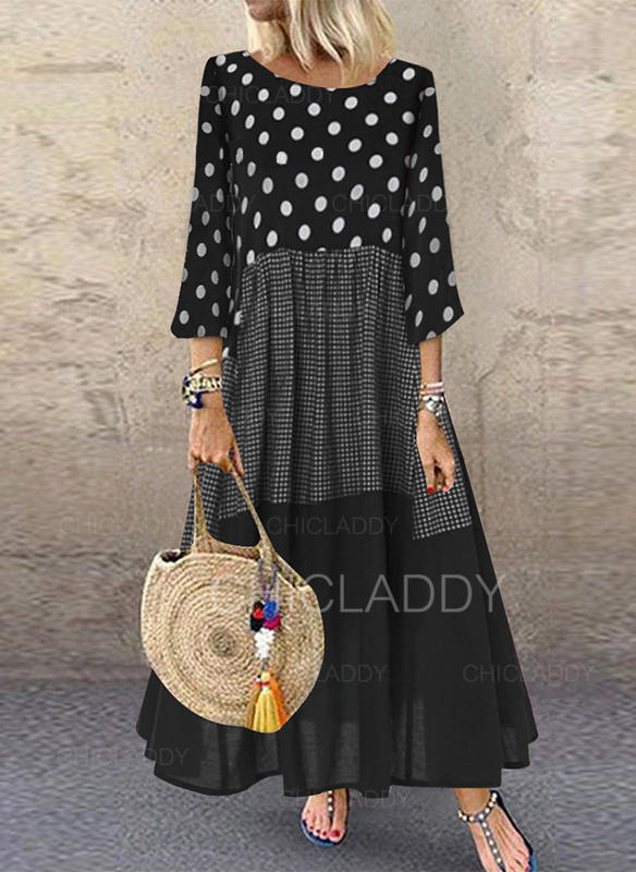 PolkaDot/Plaid/Patchwork 3/4 Sleeves Shift Maxi Casual Dresses