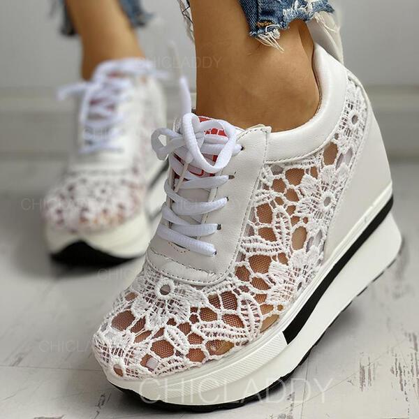 De mujer Malla PU Casual con Encaje Cordones zapatos