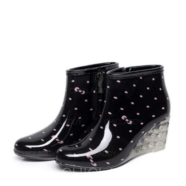 Donna PVC Zeppe Zeppe Stivali Stivali da pioggia scarpe