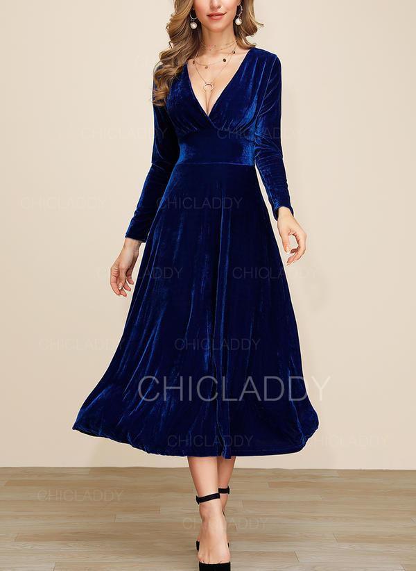 Jednolita Długie rękawy W kształcie litery A Przyjęcie/Elegancki Midi Sukienki