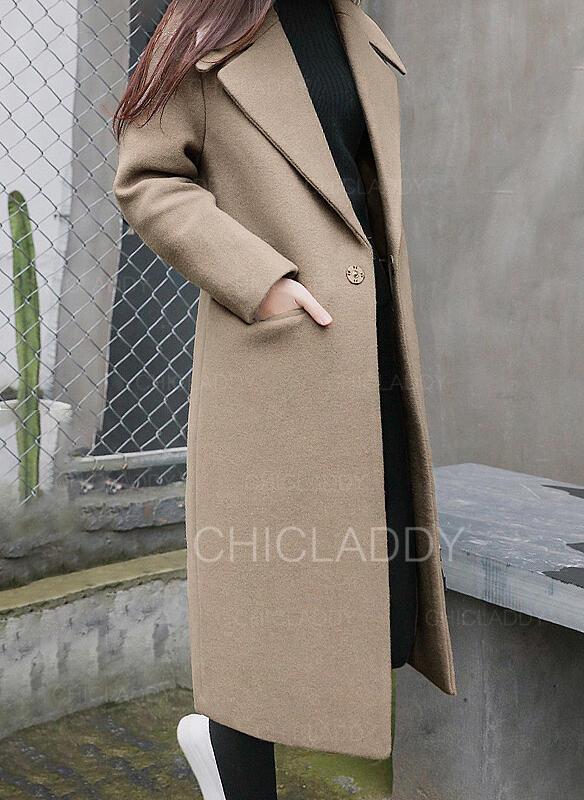 De lana Manga larga Color sólido Abrigo lana