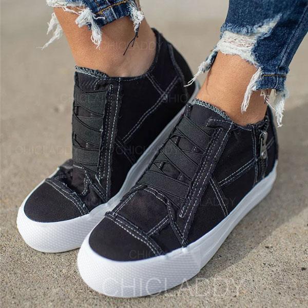De mujer Tela Casual al aire libre con Cremallera Banda elástica zapatos