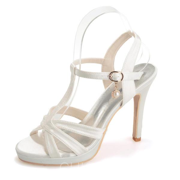 De mujer Satén Tacón stilettos Encaje Plataforma Sandalias con Hebilla