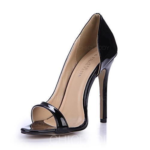De mujer Piel brillante Tacón stilettos Sandalias Salón Encaje zapatos