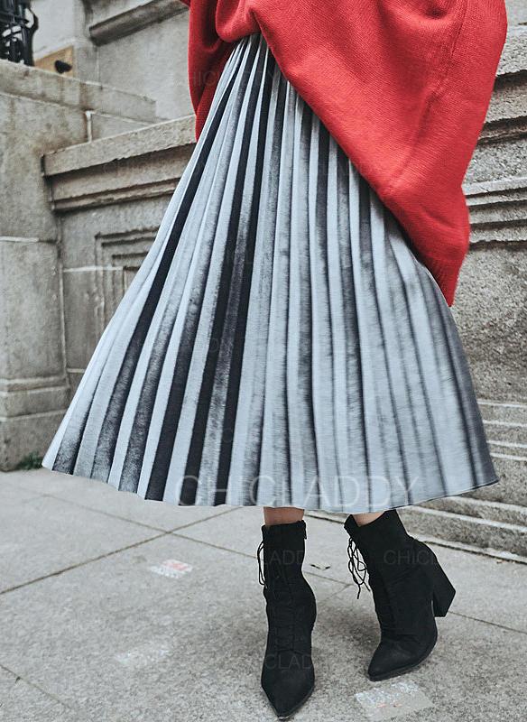 e271b3cd0447 Samet Jednobarevný Do půl lýtek Skládané sukně Sukně do tvaru A ...