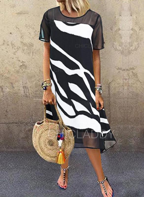 Print Short Sleeves Shift Midi Casual Dresses