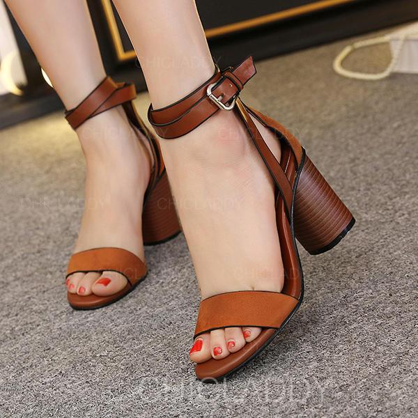 7f0203f5576d Kvinder PU Stor Hæl sandaler Kigge Tå med Spænde sko (087145428 ...