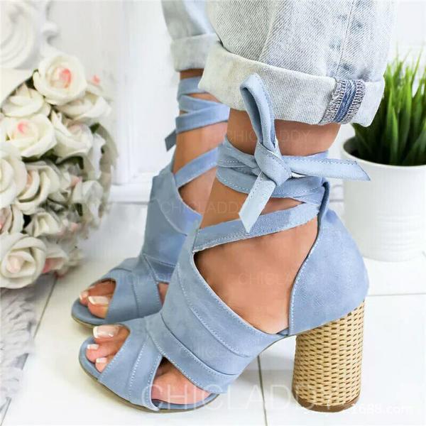 De mujer Ante Tacón ancho Salón Encaje con Cordones zapatos