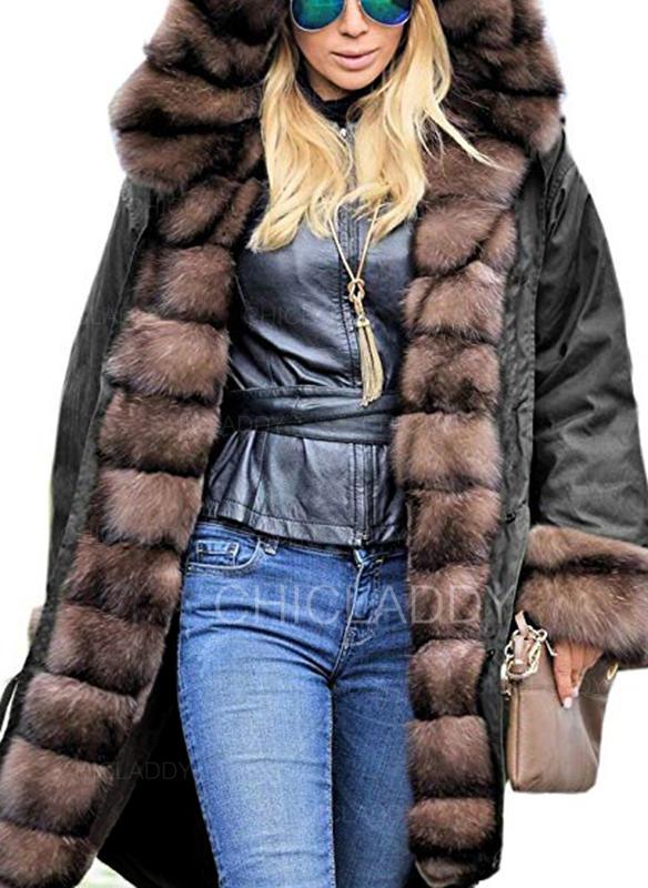 c5cdab221 [US$ 88.99] Polyester Imitert Pels Langermer Ensfarget Faux pels jakke -  Chicladdy