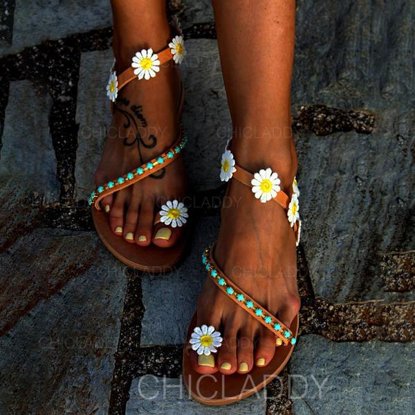 Dla kobiet PU Płaski Obcas Sandały Plaskie Z Kwiaty obuwie