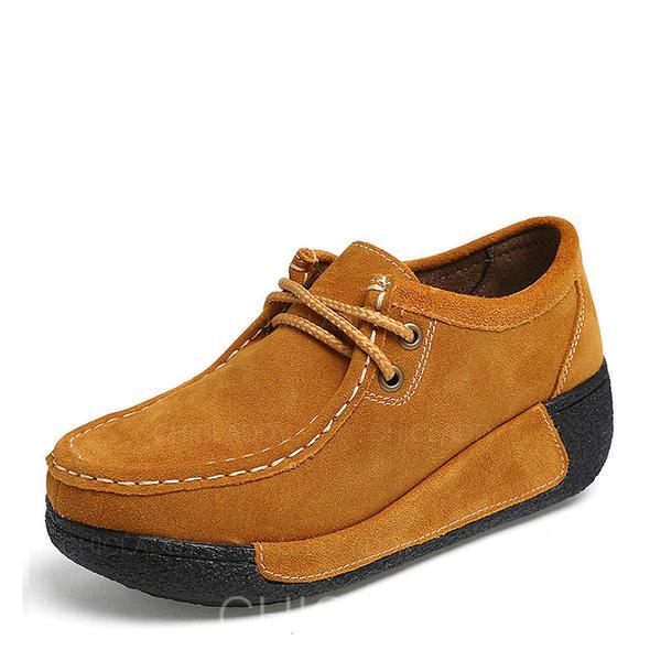 De mujer Ante Tipo de tacón Plataforma Cerrados Cuñas con Cordones zapatos