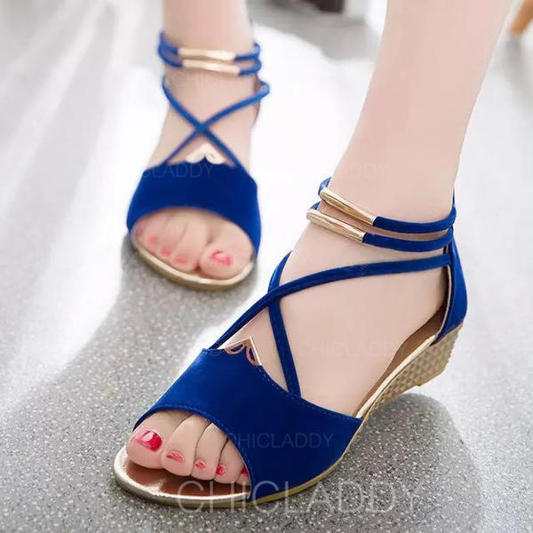 [US$ 9.99] Women's PU Wedge Heel Sandals Wedges Peep Toe With Zipper shoes Chicladdy