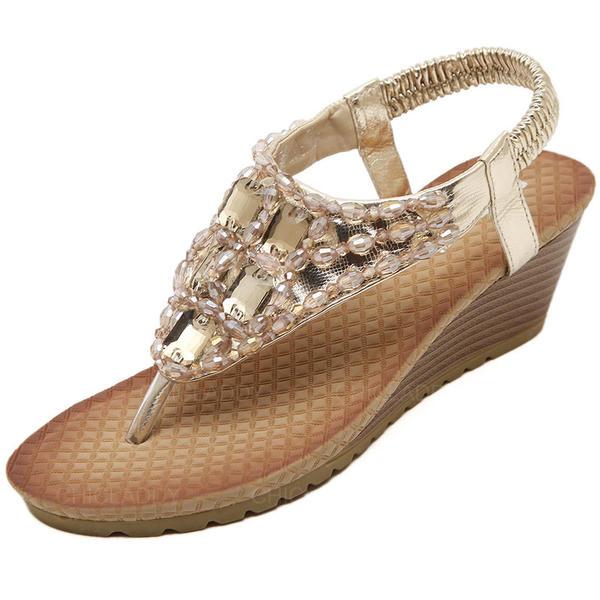 Donna Similpelle Zeppe Sandalo con Strass scarpe