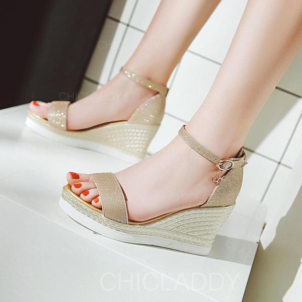 De mujer Brillo Chispeante Tipo de tacón Salón Plataforma Cuñas Encaje con Hebilla zapatos