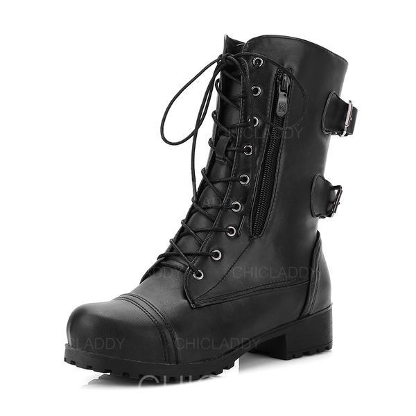 Donna Similpelle Tacco basso Stivali Stivali altezza media Stivali da equitazione con Fibbia Cerniera Allacciato scarpe