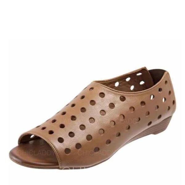 De mujer Cuero Tacón plano Planos con Agujereado zapatos