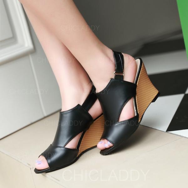 De mujer Cuero Tipo de tacón Sandalias Cuñas Encaje Solo correa con Agujereado zapatos