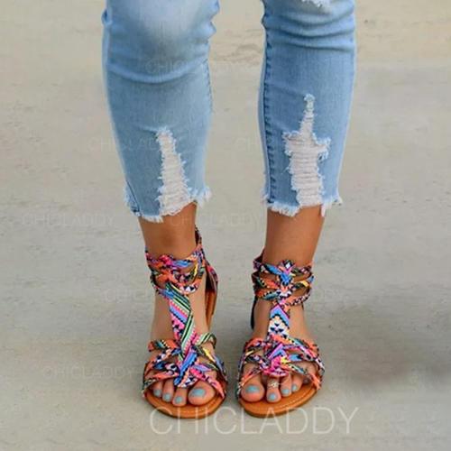 De mujer Cuero de Microfibra Tacón plano Sandalias Planos Encaje con Otros zapatos