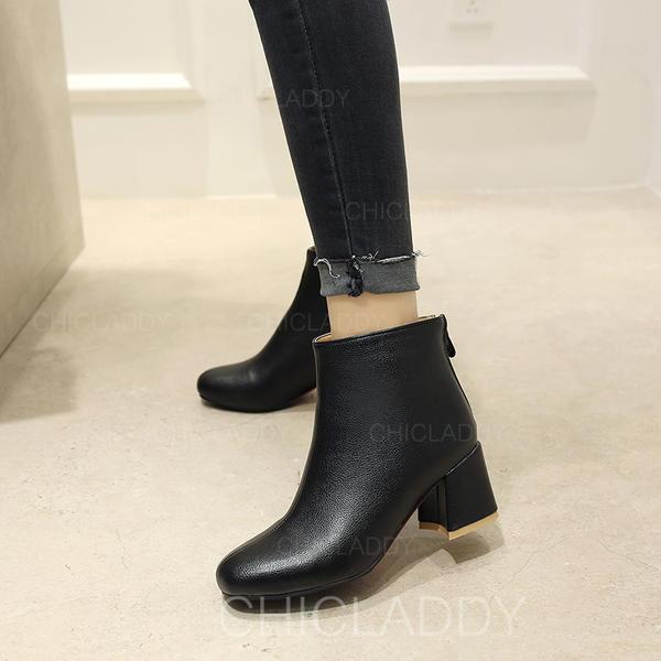 Vrouwen PU Chunky Heel Pumps Laarzen Enkel Laarzen met Rits schoenen