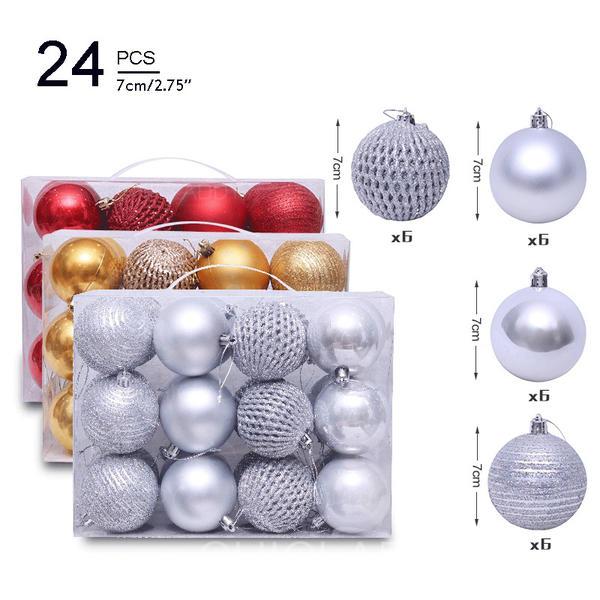 "Merry Christmas 2.75"" 24 PCS PVC Christmas Décor Ball (Set of 24)"