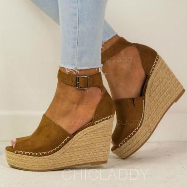 Femmes Suède Talon compensé Bout fermé avec Boucle chaussures