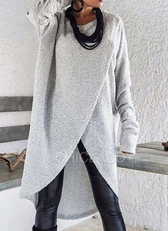 Sólido Cuello Redondo Vestido de Suéter