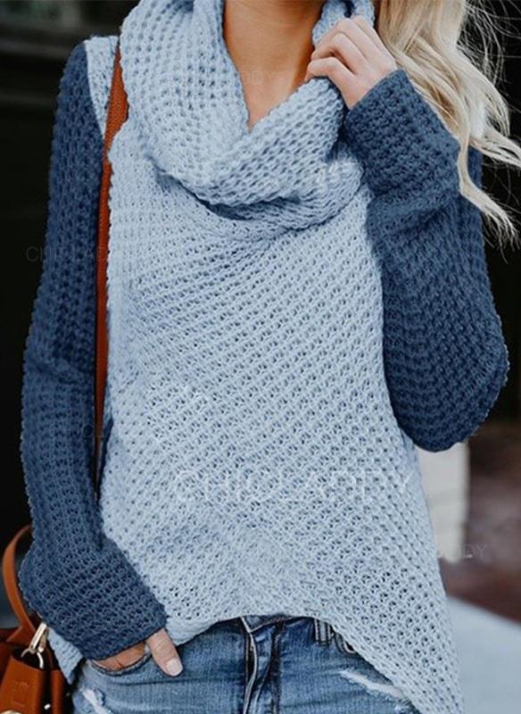 Color Block Cowl Neck Sweaters