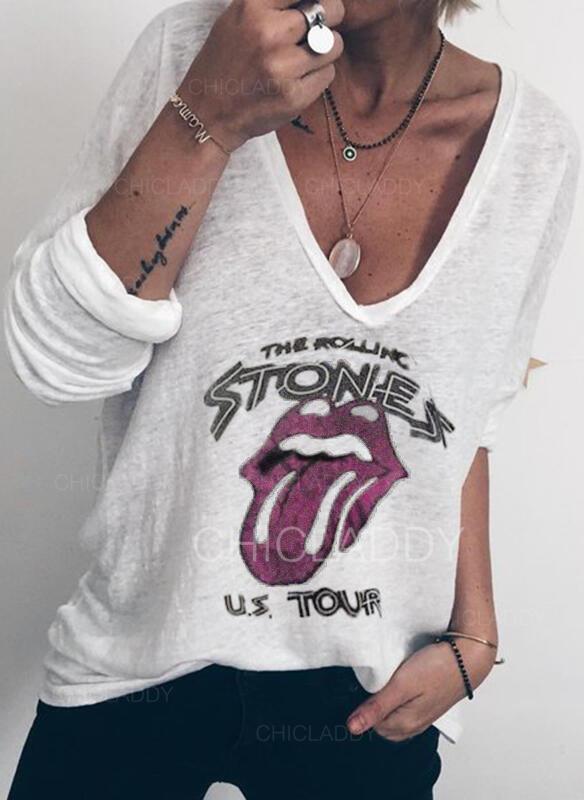Nadruk Dekolt w kształcie litery V Długie rękawy Casual Dzianina T-shirty